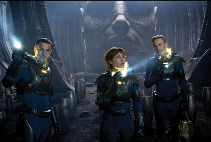 Noomi Rapace and Michael Fassbender in Prometheus