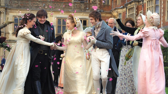Lily James, Sam Riley, Bella Heathcote, and Douglas Booth in PPZ movie.