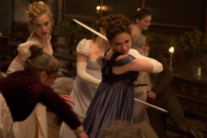 Lily James and Bella Heathcote in Pride & Prejudice & Zombies