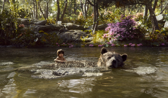 Neeli Sethi as Mowgli and Bill Murray as Baloo in 2016 The Jungle Book
