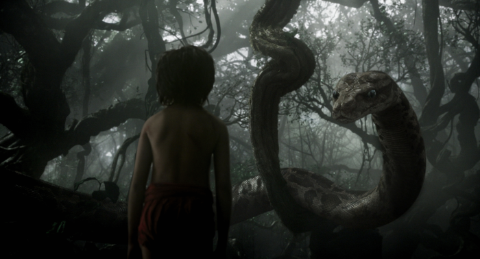 Scarlett Johansson as Kaa and Neeli Sethi as Mowgli