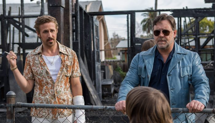 Russell Crowe and Ryan Gosling star in The Nice Guys, an action comedy from Shane Black -- a writer-director who's long shown a fondness for sending up L.A. noir