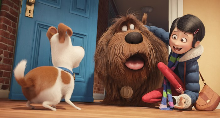 Duke meets Max in The Secret Life of Pets