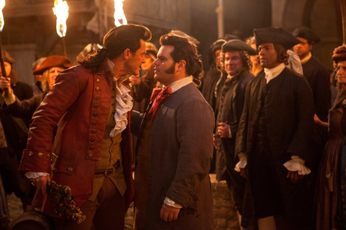 Luke Evans as Gaston and Josh Gad as LeFou