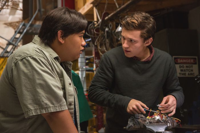 Tom Holland and Jacob Batalon in Spider-Man: Homecoming